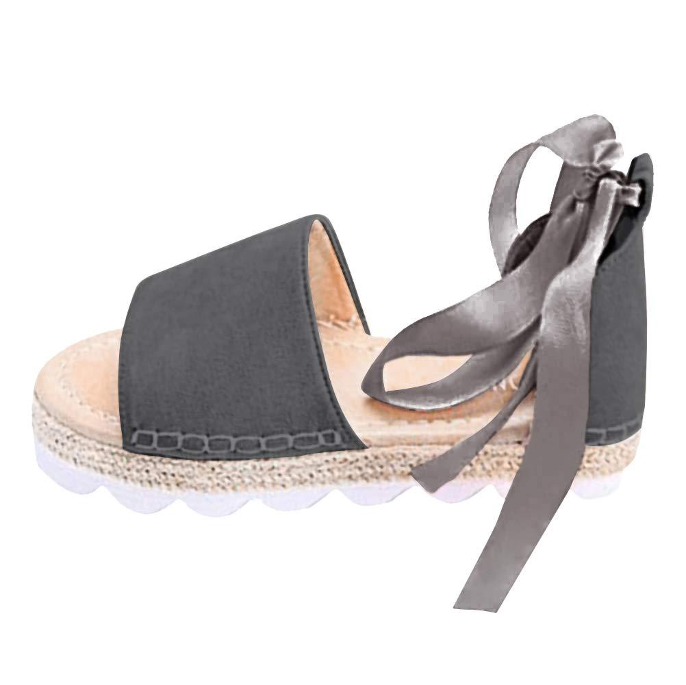 Minetom Sandali Donna Eleganti Spiaggia Casuale Colore Caramella Dolce Sandals Shoes Estivi Tacco Basso Peep Toe Scarpe Grigio Scuro