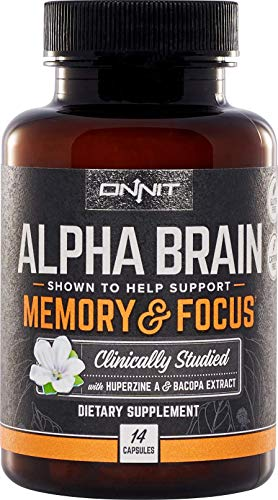 Onnit Alpha Brain (14ct): Nootropic Brain Booster Supplement for Memory, Focus, and Mental Clarity | with Bacopa, AC11, Huperzine A, L-Tyrosine, and Vitamin B6