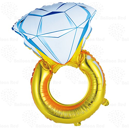 70's Game Show Costumes (Giant Diamond Engagement Ring Helium Foil Mylar Balloon for Wedding Proposal Bridal Shower Party, 33 Inch, Gold)