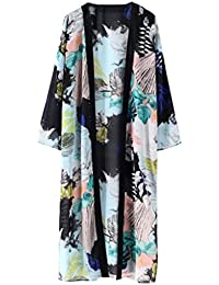 Women Boho Floral Printed Chiffon Beach Shawl Kimono Long Cardigan