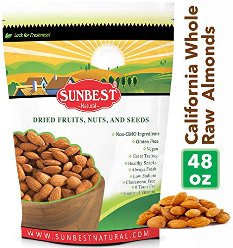 SUNBEST Whole Raw Almonds (Whole, Raw, Shelled, Unsalted) in Resealable Bag (3 Lb) ()