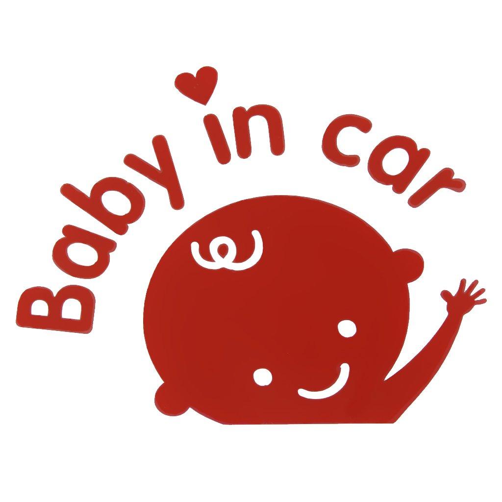 Baby in car Stickers Amovible Autocollant Voiture Adhésif DIY Art Déco Auto 12x9cm Rouge