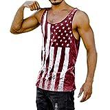 Mens Vintage Distressed USA Flag Muscle Tank Top Gym Workout Sleeveless T-Shirt Bodybuilding Racerback Stringer Vest (Red, S)