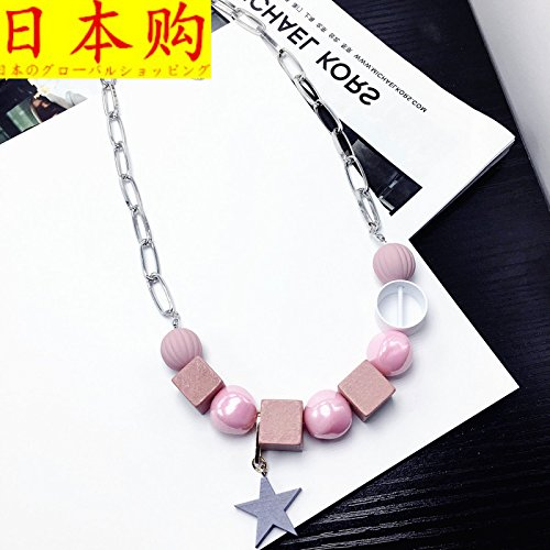 Generic Global_buys_Sc_ Korean fashion _in_ Europe America Blue crystal short _paragraph_five-pointed_ Star _decorations_wooden_ accessories chain necklace Pendant clavicle by Generic