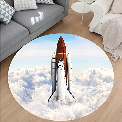 Nalahome Modern Flannel Microfiber Non-Slip Machine Washable Round Area Rug-Taking Off on Mission Spaceman Planet Gazing Endeavour Power Fire Print White Blue Brown area rugs Home Decor-Round 63