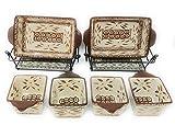 Temp-tations 6pc Mini Bakers - 2 1Qt Loaf Pans & 4 10oz Ramekins (Old World Brown)