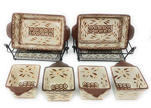 Temp-tations 6pc Mini Bakers - TWO 1.5Qt Loaf Pans & FOUR 10oz Ramekins (Old World Brown)