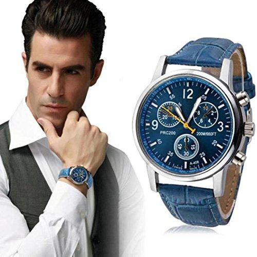 Transparent Dial Faux Leather Wrist Watch (Blue) - 6