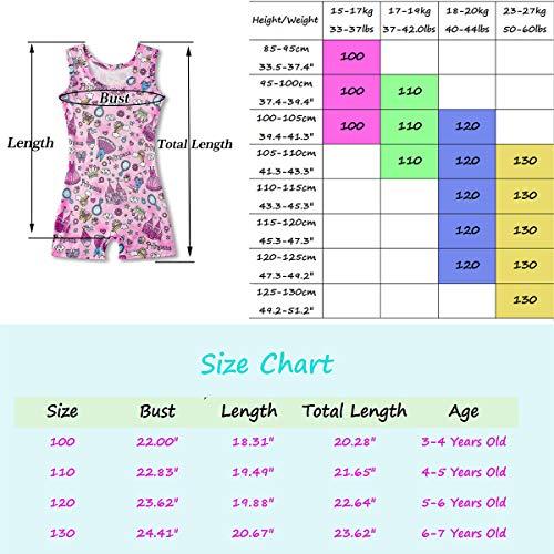 Kids4ever Leotards for Girls Gymnastics Pink Toddler Unitard Sparkly Biketards with Shorts 4T 5 T