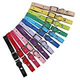 KOOLTAIL 12 Pcs Leather Puppy ID Collars whelping Identification Collar for Dogs Cats 6'' - 10''