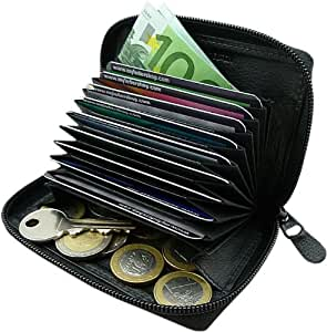 Piel tarjetero para tarjeta de crédito y cartera en una en el color de negro