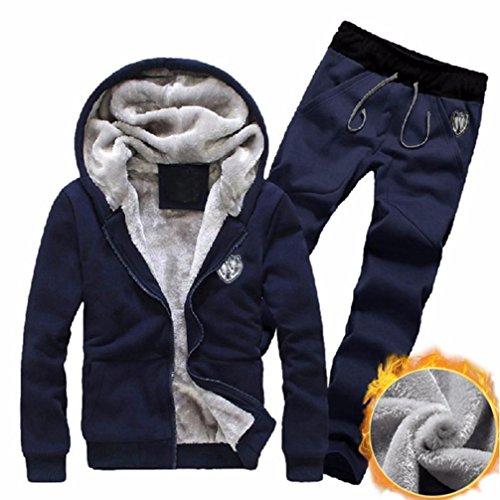 Mens Tracksuit Warm Sport Jogging Sweat Suits Hooded Sweatshirt Hoodies Coat & Bottoms Set (XL, Blue)