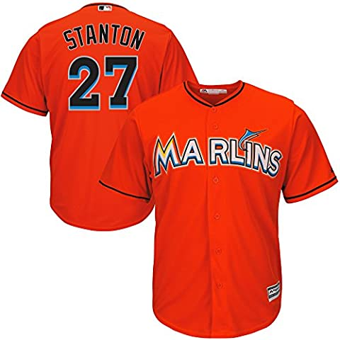 Giancarlo Stanton #27 Miami Marlins Youth Alternate Cool Base Replica Jersey (Youth Large 14/16) - Suzuki Replica