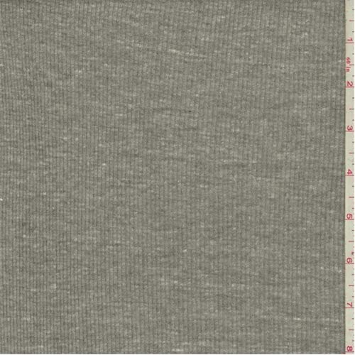 Rib Material Knit (Heathered Gray Rib Knit, Fabric by The Yard)