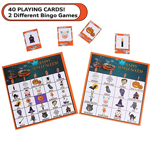 Music Class Halloween Activities (MOMONI 40 Halloween Bingo Game Cards for Kids (4x4 and 5x5)- 20 Players Halloween Party Card Games For School Classroom Party, Class Activities, Halloween Party Favors, Trick or Treat, Family)
