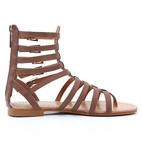 fereshte Ladies Women Summer Cut Out Gladiator Strappy Flat Sandals Chelsea Boots Brown JVw3vY2NE