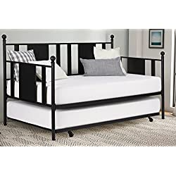 Daybed with Trundle/No Box Spring Required/Premium Sturdy Slats w/Rich Jet Black Finish/Modern Space Saving Design/Day Bed and Roll Out Trundle Accommodate Twin Size Mattress/Ships in 1 Box