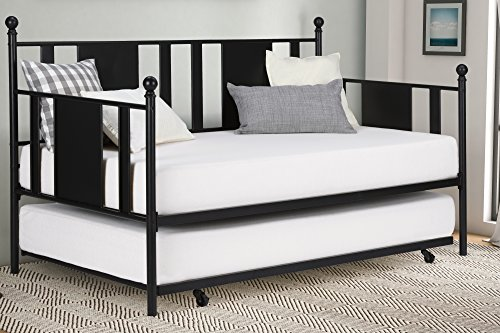 No box Spring Required/Premium Sturdy Slats w/Rich Jet Black Finish/Modern Space Saving Design/Day bed And Roll Out Trundle Accommodate Twin Size Mattress/Ships in 1 Box (Daybed Roll Out Trundle)