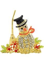 Imixlot Inspired Snowman Broom Enamel Rhineston Brooches Pins