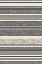 Anti-Bacterial Rubber Back LONG RUGS RUNNERS Non-Skid/Slip 3x10 Runner Rug | Grey Stripes Indoor/Outdoor Thin Low Profile Modern Home Floor Kitchen Hallways Colorful Decorative Rug