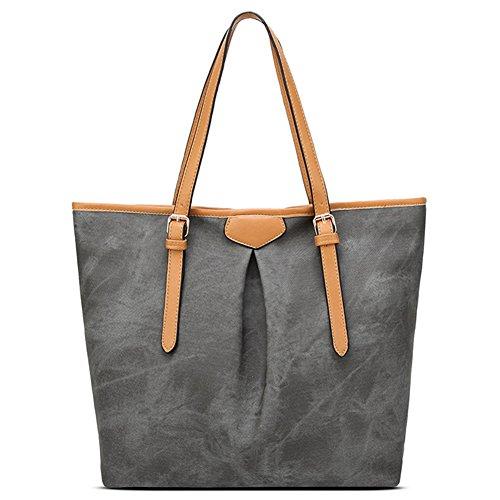 Donne Borsa A Tracolla Tote Bag Denim Pattern Grande Capacità Borse A Mano Shopper Borse Grigio scuro