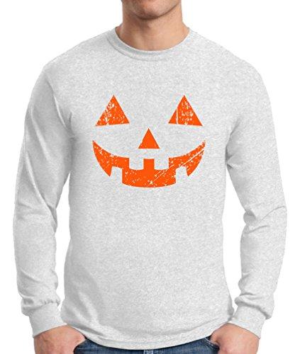 Awkward Styles Men's Jack O' Halloween Pumpkin Long Sleeve T shirt Tee Halloween Horror Funny Tee White XL