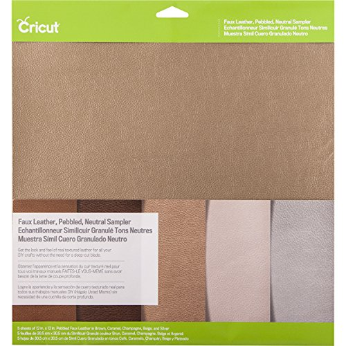 Cricut Pebbled Faux Leather, Neutral Sampler
