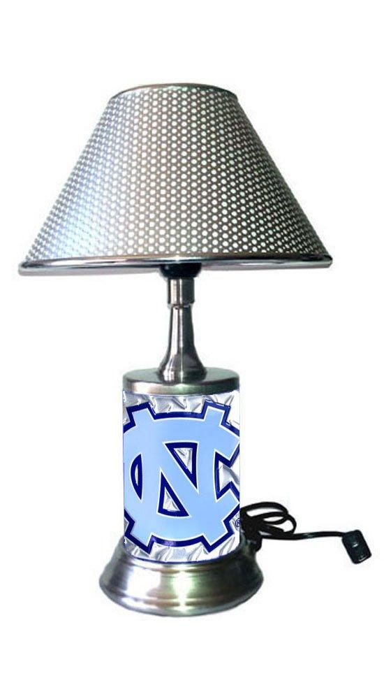 North Carolina Tar heels Lamp with chrome shade, base wrapped with diamond metal plate
