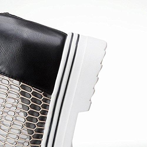 Mee Shoes Damen Keilabsatz Reißverschluss mit Nieten Sandalen Schwarz