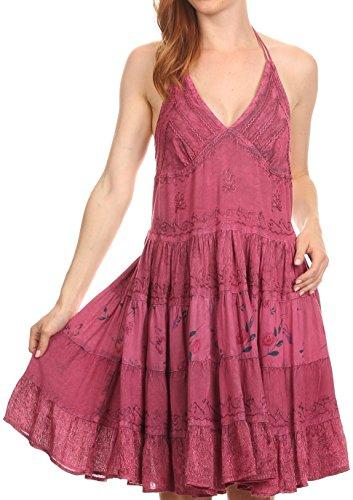 Sakkas 161110 - Laye Short Adjustable Halter Top Embroidered Floral Batik Circle Dress - Pink - 1X/2X