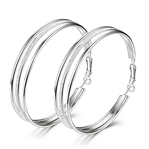 Women's Large Stainless Steel Pierced Fashion Hoop Earrings With Frosted,Silver And Golden(Silver)