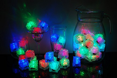 LiteCubes Set of 48 Brand 8 Mode MultiColor RAINBOW Light up LED Ice Cubes … -