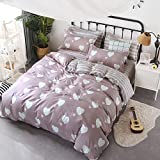 KFZ Bedding Set Duvet Cover Flat Sheet Pillowcase No Comforter 4pcs/Set CQ Twin Full Queen King Sheets Set Fringes love Laughing Cats Design for Children Adult (Fringes love,Pink, Twin, 60''x79'', 3pcs)