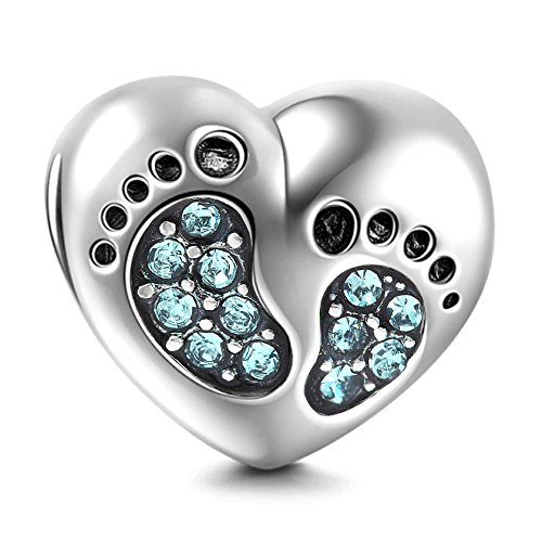 March Birthstone Charm - Heart Love Baby Footprints Charms 925 Sterling Silver Jan-Dec Birthstone Crystal Charms Beads for Bracelets (Aquamarine March Stone)