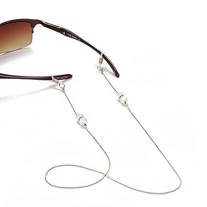 Retro Elegante Antideslizante Correa de cuello de cadena de cuentas de cristal de Bohemia estilo gafas