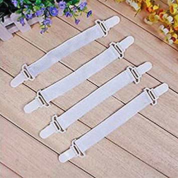 4 pcs Adjustable Triangle Heavy Duty Elastic Sheet Band Straps Suspenders Corner Gripper Holder Clip for Fitted Bed Sheets Mattress Pad Covers Black QYPM Bed Sheet Fasteners Sofa Cushion