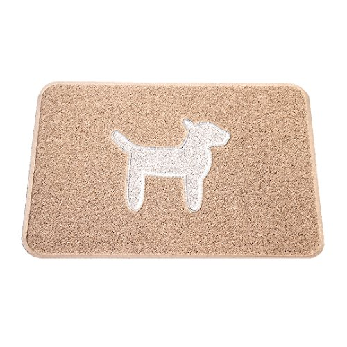 SMARTCATCHER 765857338859 Modern Collection Dog-Themed Doormat, 36'x24', Latte and Cool White