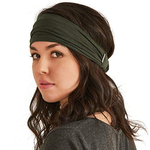 CHARM Headband Bandana Japanese Style - Mens Head Wrap Womens Hair Band Khaki