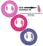 1 X NEWLY DESIGNED High Quality - 6ft(2m) Braided Nylon Lightning Charging Cables for Apple iPhone 5 5C 5S, iPhone 6 6 Plus, iPad 4 Mini, iPod Touch 5/Nano 7, 8 pin to USB - 3pack(pink hot pink purple)