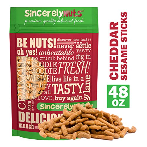 - Sincerely Nuts Cheddar Sesame Sticks - Mouthwatering Flavor - Light & Crunchy - Packed with Healthy Nutrients - Kosher Certified (3 LB)
