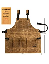 foruinvent Waxed Canvas Tool Apron With Tool Pockets, Back Straps & Adjustable up to XXL for Men & Women