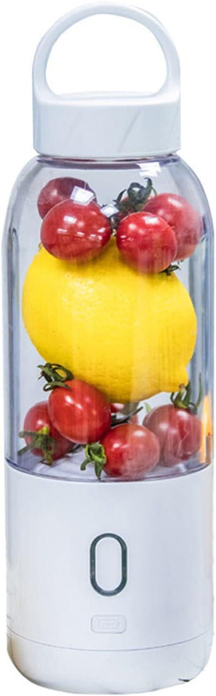 Mini Licuadora Eléctrica Portátil De 500 Ml, Exprimidor, Procesador De Alimentos Recargable por USB, Licuadora De Mano para El Hogar, La Oficina, Al Aire Libre,Blanco