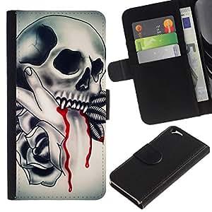 All Phone Most Case / Oferta Especial Cáscara Funda de cuero Monedero Cubierta de proteccion Caso / Wallet Case for Apple Iphone 6 // Skull Vampire Blood Rose Feathers