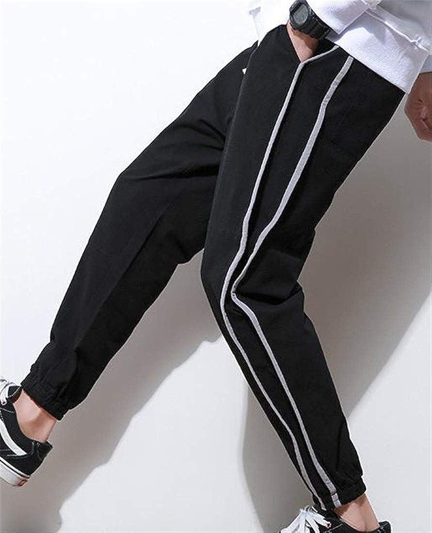 Bigbarry Mens Sport Striped Casual Harem Elastic Waist Sweatpant Ankle Pants