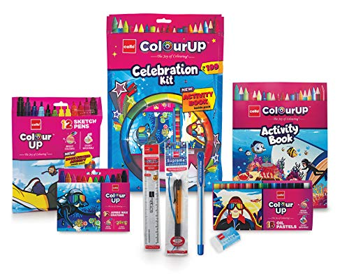 Cello ColourUP Celebration Kit - Mega Gift Pack | 15 Oil Pastels | Sketch Pens | 12 Jumbo Wax Crayons | 8 Assorted Items | Free Activity Book |... 3