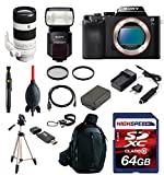 Sony ILCE7S/B Alpha a7S Compact Interchangeable Lens Digital Camera (Body) w/ Sony FE 70-200mm F4 G OSS Interchangeable Lens, Sony HVLF60M Flash, Deluxe Kit 64GB