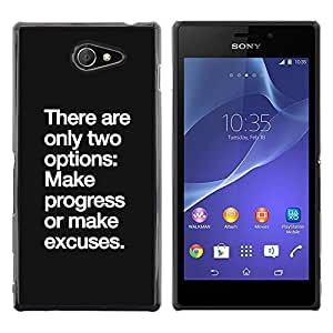 Progreso Ninguna excusa de motivación inspiradora- Metal de aluminio y de plástico duro Caja del teléfono - Negro - Sony Xperia M2