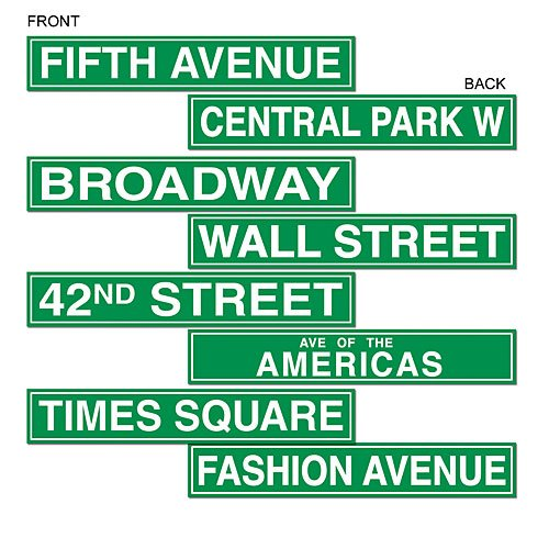 Beistle 50094 4-Pack NYC Street Sign Cutouts, 4-Inch by 24-Inch -