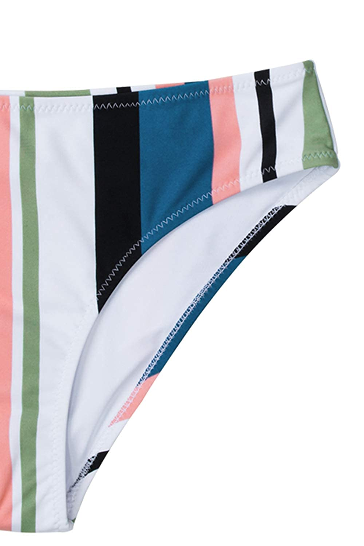CUPSHE Womens Striped Back Hook Closure Bikini Adjustable Straps Swimsuit