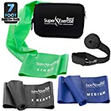 Cheap Super Exercise Band 7 ft Resistance Bands Set of 3. Ideal Fitness Gift Kit in Medium Strength Latex Free Bands for Strength Training or Physical Therapy with Door Anchor, Carry Pouch, ebook.